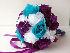 Wedding bouquet, purple, white, turquoise and silver. Roses, Hydrangea.