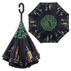 Upside Down Umbrellas with C-Shaped Handle for Women and Men Double Layer Inside Out Folding Umbrella Reverse Inverted Windproof Cute Cats And Dogs Animal Umbrella