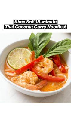 Healthy Soup Recipes, Fish Recipes, Veggie Recipes, Asian Recipes, Whole Food Recipes, Cooking Recipes, Asian Foods, Coconut Curry, Thai Coconut