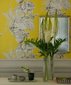zephirine wallcoverings palmieri main:  love this Dorthy Draper style paper in this bold yellow great for a room with wainscoting