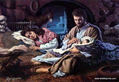 In the Hands of The Father by Roger Loveless ~ Jesus nativity ~ Holy Family Pictures Of Christ, Religious Pictures, Baby Jesus Pictures, Catholic Art, Religious Art, Jesus Christus, Mary And Jesus, Holy Family, Family Family