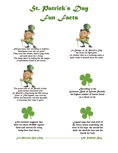 St Patrick's Day FUN FACTS Lunchbox Notes:: Printable::oh! rubbish! blog