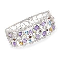 10.70 ct. t.w. Multi-Gemstone and .10 ct. t.w. Diamond Bangle Bracelet in Sterling Silver