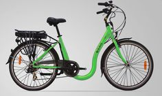 My husband and I have been wanting to start riding bikes to work.  We'd love to get some more exercise and have fun doing it.  I think he'd love a bike like this.  I love the neon green and the U looped frame.  It looks like it would be easy to get on and off.  This would be pretty important since he has a really sore hamstring.