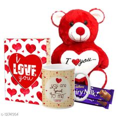 Accessories Delight Gifts(Pack Of 4)  Material: Mug - Ceramic Greeting Card - Paper Teddy Bear - Imported Size : Greeting Card : A4 Teddy Bear - 6 in           Capacity : Mug - 325 ml Description: It Has 1 Piece Of Mug & 1 Piece Of Greeting Card & 1 Piece Of Teddy Bear & 2 Pieces Of Chocolate Work : Mug - Printed Greeting Card - Printed Country of Origin: India Sizes Available: Free Size   Catalog Rating: ★4.1 (1537)  Catalog Name: Delight Gifts Combo Vol 8 CatalogID_161917 C127-SC1621 Code: 153-1274364-108