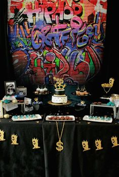 Take a look at this fantastic West Coast HipHop birthday party! See more party ideas … – Wanderlust 18th Birthday Party Themes, Boy Birthday Parties, 30th Birthday, Birthday Ideas, Birthday Quotes, Birthday Cake, Nas Hip Hop, Rugrats, 90s Theme Party Decorations