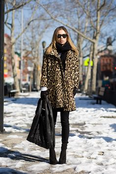 02/17/2010 first morning in nyc vintage leopard coat and sweater, Henry Duarte x J Brand jeans, ribbed knee socks, D&G wedges, Alexander Wang Hilary bag.
