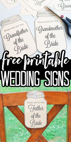 Print these wedding chair reservation signs for free and use them to reserve seating at your wedding for parents and grandparents. Perfect for a rustic wedding theme! #wedding #rustic #masonjar #printable #freeprintable Card Box Wedding, Wedding Signs, Diy Wedding Garland, Wedding Freebies, Cricut Tutorials, Cricut Ideas, Free Wedding, Wedding Ideas, Jar Centerpieces