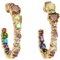 sharon khazzam | Sharon Khazzam Multi Gemstone & Gold Hoop Earrings