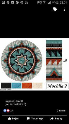 Wayuu Mochila pattern Tapestry Crochet Patterns, Crochet Dolls Free Patterns, Bead Loom Patterns, Crochet Stitches Patterns, Crochet Chart, Stitch Patterns, Wiggly Crochet, Quick Crochet, Mochila Crochet