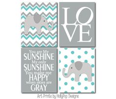 Boy Nursery Art Prints-Chevron Elephant Wall Decor-You are My Sunshine LOVE Typography-Turquoise Gray Nursery Decor-Boys Room Home Decor