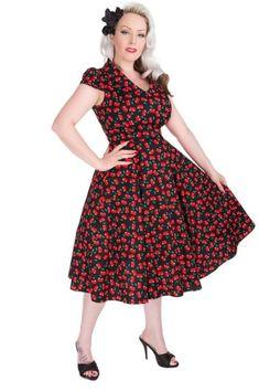 d5300d948fd277 Kirschblüten Kleid, Schöne Schwarze Kleider, 1950s Style, Retro Vintage  Kleider, Retro-