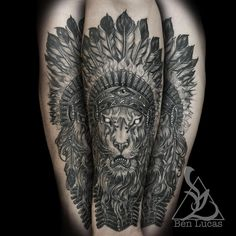 Brandon's lion with Indian headdress on his forearm. . I finished this one about a month ago. Super fun one .He has a buddy I'm doing a wolf on with the same theme.