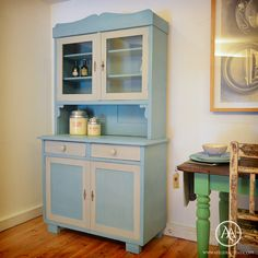 Rustic kitchen dresser painted in Annie Sloan Chalk Paint Paris Grey and Provence, with Paris Grey wash