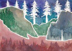 Original Abstract Watercolor of Yosemite National Park El Capitan Valley Waterfall Landsape by EngelhardtDesigns on Etsy