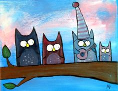 Silly Owls Woodland Nursery Be You Kids Art Original от andralynn
