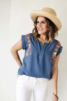 Embroidered Linen Blouse | ROOLEE