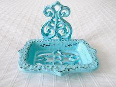 Decorative Robins Egg Blue Painted Soap Dish - Etsy AmyGreerDesign $13