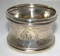 Antique Victorian Napkin Ring Solid 950 Sterling Silver French Vintage | eBay