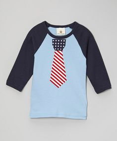 Look at this #zulilyfind! Navy Patriotic Tie Raglan - Infant & Toddler #zulilyfinds