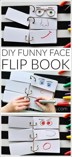 This DIY Funny Face Flip Book is simple to put together and will keep the kids creatively entertained all afternoon. - This DIY Funny Face Flip Book is simple to put together and will keep the kids c. Summer Activities For Kids, Toddler Activities, Fun Activities, Summer Kids, Summer Food, Babysitting Activities, Activity Toys, Summer Crafts Kids, Simple Kids Crafts
