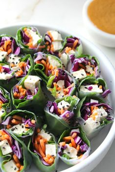 A simple lunch or dinner, these Vegan Rice Paper Rolls with Spicy Peanut Sauce are packed full of fresh veggies. Served with the best peanut sauce you've ever had! Vegan Recipes Videos, Vegan Dinner Recipes, Vegetarian Recipes, Vegan Meals, Vegan Appetizers, Vegan Dishes, Vegan Rice Paper Rolls, Alana Rox, Feta
