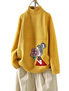 Middle East Cartoon Embroidered Half-neck Turtleneck Sweater is on sale at reasonable prices, having a beautiful sweater & cardigan, you can own a beautiful autumn Mobile. Long Knit Cardigan, Knit Shirt, Long Sleeve Sweater, Sweater Cardigan, Christmas Sweaters For Women, Trendy Colors, Long Sweaters, Outerwear Women, Sweater Outfits