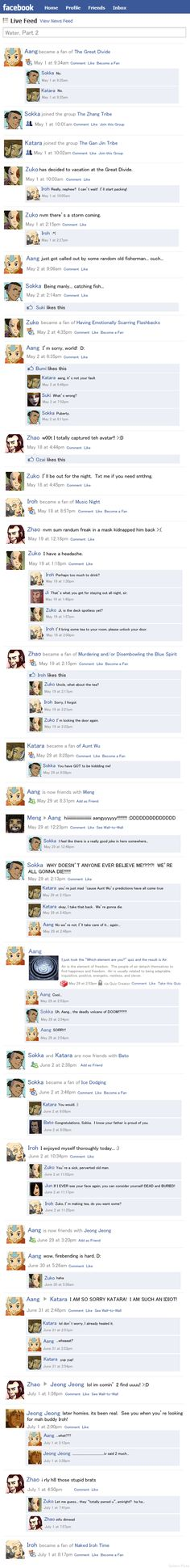 """Avatar Facebook....Way too funny not to pin! Funnier if last entry was Azula out of the blue """"liking"""" or becoming a fan of Prozac."""