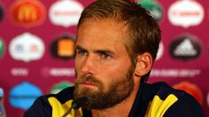 Olof Mellberg of Sweden attends a press conference after their UEFA EURO 2012 Group D match against England