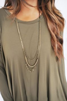 Brown/Gold 3 Layer Necklace - Dottie Couture Boutique