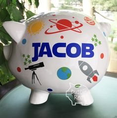 Personalized Piggy Bank Space Theme, Custom Boy Bank, Science Boy, Constellations, Outer Space, Planets, Space Baby, Toddler Boy Birthday by BubbieRed on Etsy