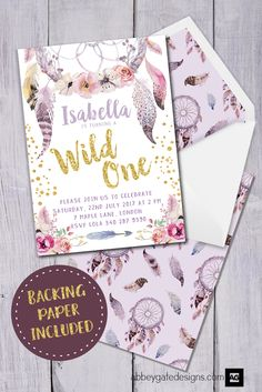This Wild One Invitation would be perfect for a baby girl's first birthday party.  It features a gorgeous dreamcatcher with feathers design.