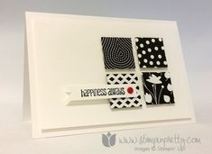 handmade card from stampinpretty.com... sophisticated look in black and white ... inchies punched from black and white  Designer Series Paper  for a four square ... luv the side placement and extra texture made by popping them up ... luv it! ... Stampin'Up!