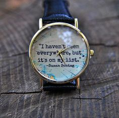 Grey Quotes Watch World map Watch Travel watch by AyoBijou