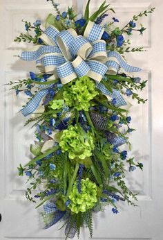 Spring or Summer Green and Blue Mesh Swag or Wreath