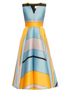 Roksanda plays to its strengths for SS16, offering a flawless collection of colour-blocked event pieces. This stone-blue and orange jacquard Lovell dress is cut with a close-fitting V-neck top and a dramatic midi-length skirt, and has black jour-échelle side stripes to break up the bold pattern. | Available at MATCHESFASHION.COM