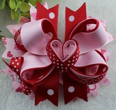 4.5 inch Sweet Heart Boutique Bow  Alligator Clip or French Barrette
