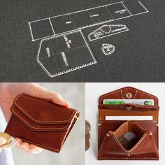 1 set of Acrylic Stencil Set ( the coin bag is not included ). Design in international standard, suitable for any personal DIY or professional. Coin Purse Pattern, Leather Wallet Pattern, Diy Leather Craft Tools, Leather Projects, Handbag Patterns, Leather Gifts, Handmade Leather, Leather Purses, Stencil