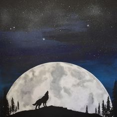 Moon wolf painting Original art Galaxy silhouette by TrueAcrylics