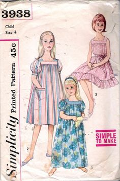Vintage 1960's Simplicity 3938 Girl's Muu Muu in Two Lengths & Nightgown Sewing Pattern Size 4 A Mother Daughter Fashion by Recycledelic1 on Etsy https://www.etsy.com/listing/186795571/vintage-1960s-simplicity-3938-girls-muu