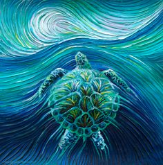 Turtle Spirit, captured in this energy painting by Julia Watkins,  is believed by Native Americans to bless you with a long and easy life.  Click the painting to learn how this totem image can help you. To see other spirit animal and totem energy paintings visit: http://energyartistjulia.bigcartel.com/category/totem