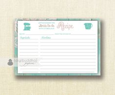 Aqua Barn Wood Recipe Card INSTANT DOWNLOAD Shabby Chic Beach Blush Pink Teal Bridal Shower 4x6 DIY Printable or Printed Fill-In - Willow