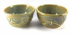 Original Studio Pottery 2 Handmade Bowls 2 Tone Green Fish Signed | Pottery & Glass, Pottery & China, Art Pottery | eBay!