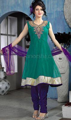 Lush Cyan Blue Chudidar Kameez in Plus Size