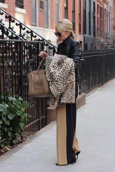 Pants: Robert Rodriguez. Top: M+O. Moto Jacket: Zara (old). Coat: Malene Birger. Sunglasses: Burberry