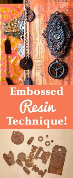 Embossed Resin Technique by Heather Tracy for The Graphics Fairy! Such an amazing craft technique, I love how you can make your very own Embellishments!