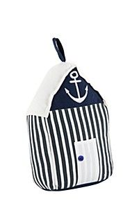 NAUTICAL BEACH HUT DOORSTOPPER Door Stopper, Home Kitchens, Black Silver, Nautical, Beach, Blue, Furniture, Navy Marine, The Beach