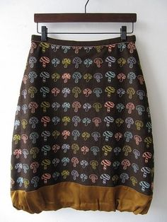 Mushroom print and mix of textiles.