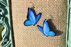 Shades of Blue Butterfly Earrings by ValeriesVanityMirror on Etsy