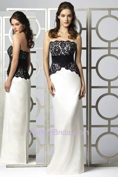 Dessy Bridesmaid Dress 2849   Dessy bridesmaid style 2849. Strapless full length dress with black lace...